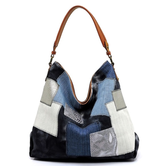 Handbags - Denim Patchwork Shoulder Bag Hobo-Black
